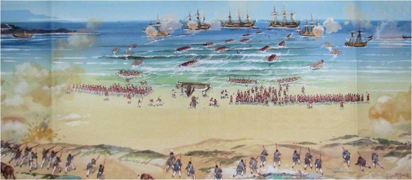 Battle of Blaauwberg landing 6th Jan 1806 by Angus Mc Bride Cover of Blue Berg by Mark Dunbar Anderson