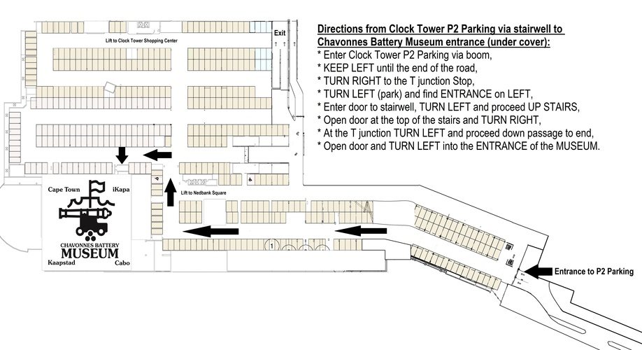 Directions from Parking, Clock Tower Square, V&A Waterfront, Chavonnes Battery Museum, Undercover Parking,